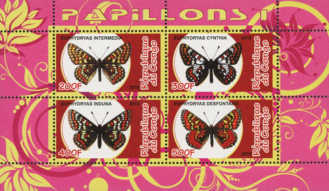 Congo Butterfly Insect Euphydryas Nature Souvenir Sheet of 4 Stamps Mint NH