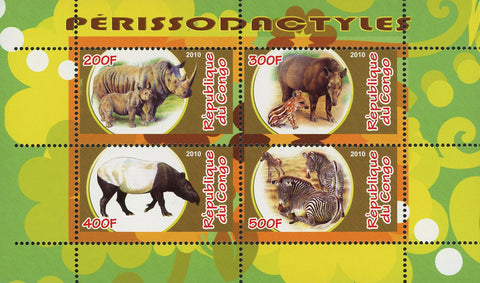 Congo Odd-toed Ungulates Wild Animal Fauna Souvenir Sheet of 4 Stamps Mint NH