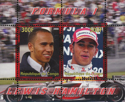 Congo Formula 1 Racer Lewis Hamilton Transportation Souvenir Sheet of 2 Stamps Mint NH