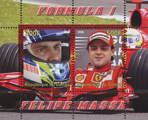 Congo Formula 1 Racer Felipe Massa Transportation Souvenir Sheet of 2 Stamps Mint NH