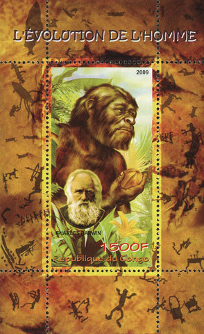 Congo Man Evolution Charles Darwin Science Souvenir Sheet Mint NH
