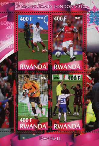 Soccer Sport Olympic Games London 2012 Souvenir Sheet of 4 Stamps Mint NH
