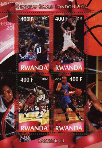 Basketball Sport Olympic Games London 2012 Souvenir Sheet of 4 Stamps Min