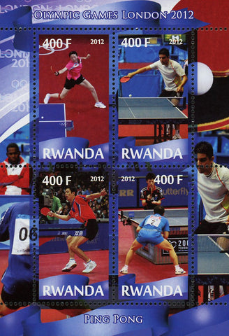 Ping Pong Sport Olympic Games London 2012 Souvenir Sheet of 4 Stamps Mint