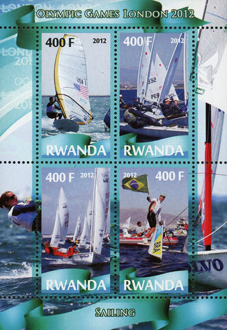Sailing Sport Olympic Games London 2012 Souvenir Sheet of 4 Stamps Mint NH