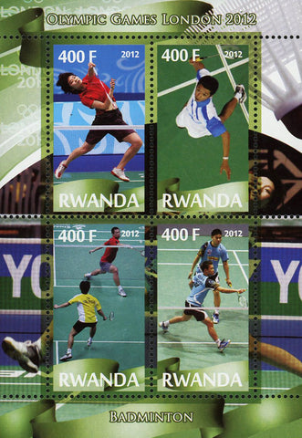 Badminton Sport Olympic Games London 2012 Souvenir Sheet of 4 Stamps Mint