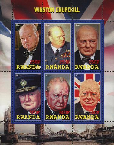 Winston Churchill President British Souvenir Sheet of 6 Stamps Mint NH
