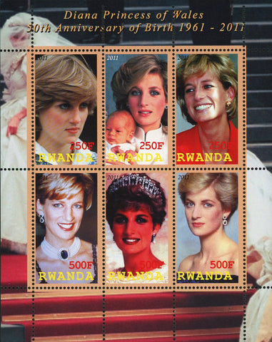 Diana Princess of Wales Historical Figure Souvenir Sheet of 6 Stamps Mint