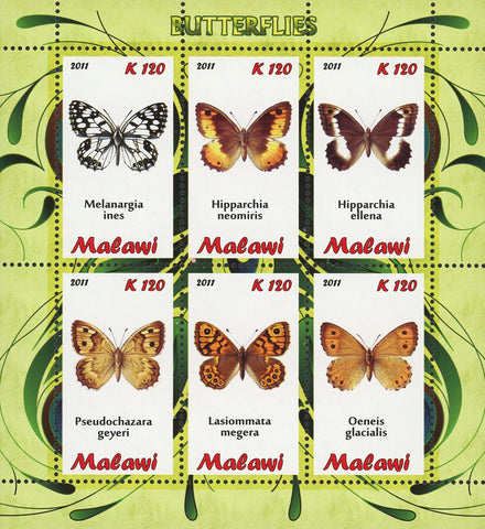 Malawi Butterfly Insect Fauna Of The World Souvenir Sheet of 6 Stamps Mint NH