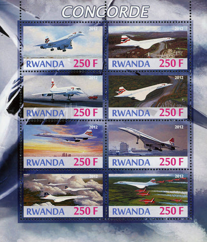 Rwanda Concorde Cloud Airplane Transportation Souvenir Sheet of 8 Stamps Mint NH