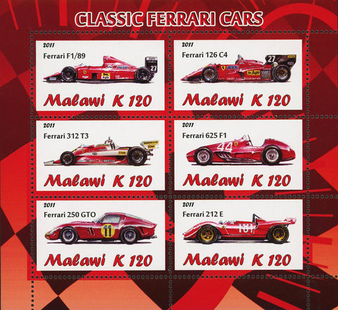 Malawi Classic Ferrari Car Transportation Luxury Souvenir Sheet of 4 Stamps Mint