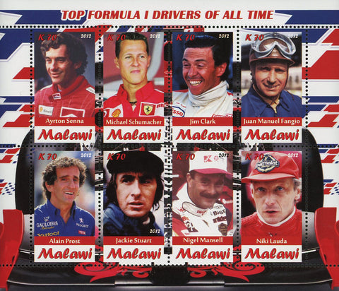 Malawi Top Formula 1 F1 Drivers Transportation Souvenir Sheet of 4 Stamps Mint N