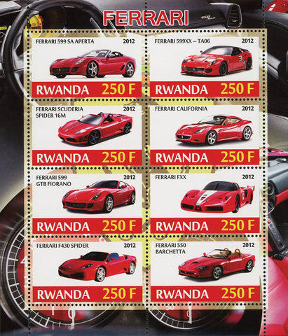 Ferrari Luxury Car Transportation Souvenir Sheet of 4 Stamps Mint NH
