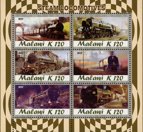 Malawi Steam Locomotive Train Transportation Souvenir Sheet of 6 Stamps Mint NH