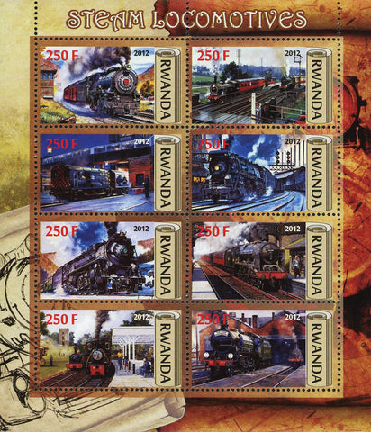 Steam Locomotive Train Transportation Souvenir Sheet of 6 Stamps Mint NH