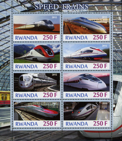 High Speed Train Transportation Souvenir Sheet of 8 Stamps Mint NH