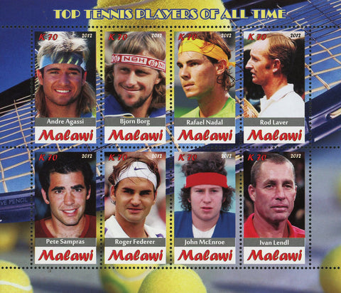 Malawi Top Tennis Players Sport Souvenir Sheet of 8 Stamps Mint NH