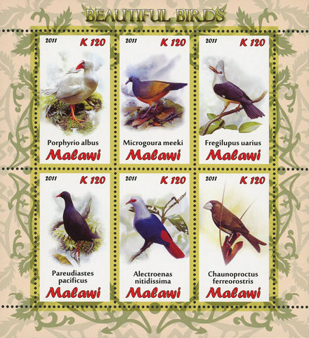 Malawi Beautiful Bird Microgoura Meeki Souvenir Sheet of 6 Stamps Mint NH