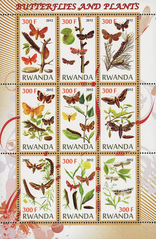 Butterfly Plant Flower Nature Insect Souvenir Sheet of 9 Stamps MNH