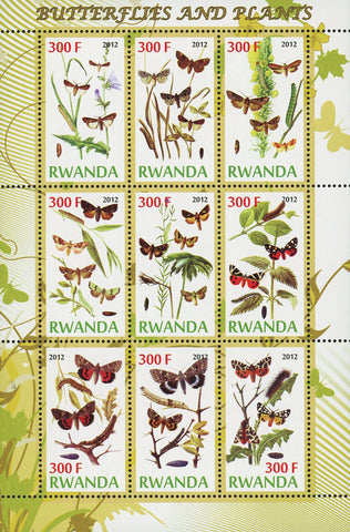 Butterfly Plant Flower Insect Souvenir Sheet of 9 Stamps Mint NH