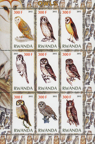 Owl Bird Stigiform Nocturnal Prey Souvenir Sheet of 9 Stamps Mint NH