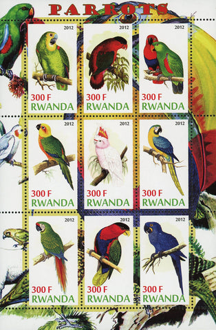 Parrot Psittacines Bird Feathers Colorful Souvenir Sheet of 9 Stamps Mint NH