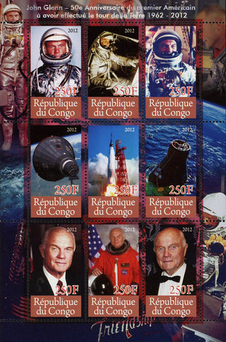 Congo John Glenn Astronaut Space Planet Earth Souvenir Sheet of 9 Stamps Mint NH