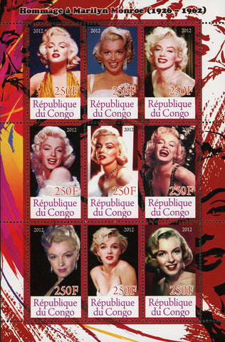 Congo Marilyn Monroe Famous People Actress Souvenir Sheet of 9 Stamps Mint NH