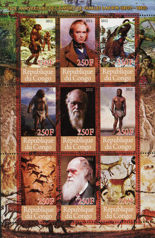 Congo Man Evolution Charles Darwin Anniversary Science Souvenir Sheet of 9 Stamp