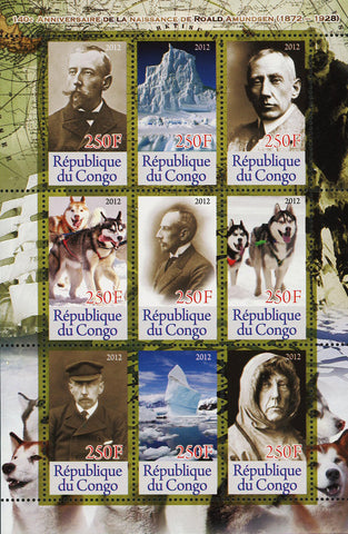 Congo Roald Amundsen Antarctic Exploration Souvenir Sheet of 9 Stamps Mint NH