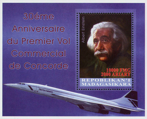 Madagascar Albert Einstein Concorde Commercial Flight Souvenir Sheet Mint NH