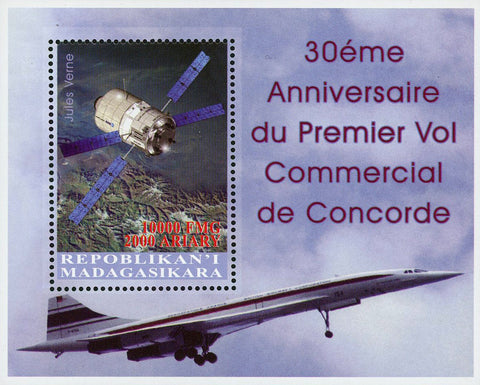 Madagaskar Satelite Space Concorde Commercial Flight Souvenir Sheet Mint NH