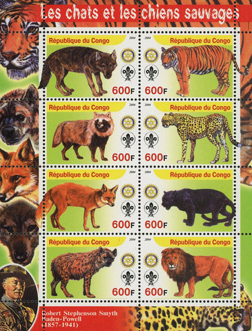 Congo Wild Cat and Dog Panthera Lion Fox Wolf Souvenir Sheet of 8 Stamps Mint NH