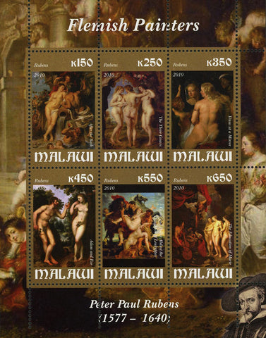 Malawi Art Flemish Painter Peter Paul Rubens Souvenir Sheet 6 Stamps MNH