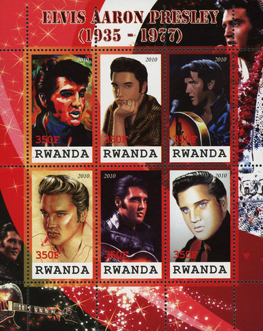 Elvis Presley Rock n' Roll Singer Famous People Sov. Sheet of 6 MNH