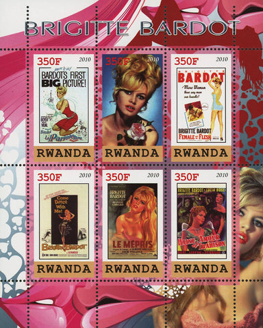 Brigitte Bardot Actress Singer Famous People Souvenir Sheet of 6 Stamps MNH