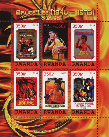 Bruce Lee Actor Martial Arts Famous People Souvenir Sheet of 6 Stamps MNH