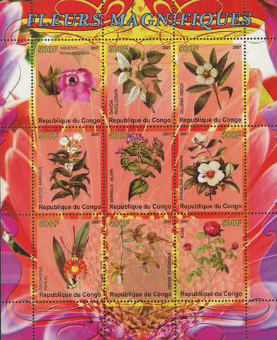 Congo Magnific Flower Rose Nature Plant Sov. Sheet of 9 Stamps Mint NH