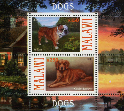 Malawi Dog Pet Domestic Animal Bulldog Souvenir Sheet of 2 Stamps Mint NH