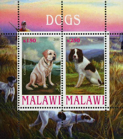 Malawi Dog Pet Domestic Animal Spaniel Souvenir Sheet of 2 Stamps Mint NH
