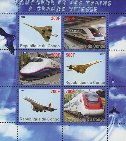Congo Concorde and High Speed Train Transportation Souvenir Sheet of 6 Stamps Mint NH