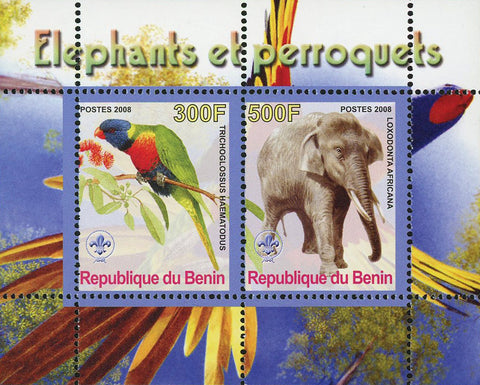 Benin Elephant and Parrot Wild Animal Bird Loxodonta Souvenir Sheet of 2 Stamps