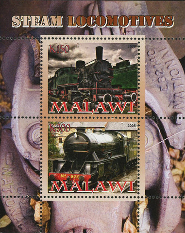 Malawi Transportation Steam Locomotive Train Souvenir Sheet of 2 Stamps Mint NH