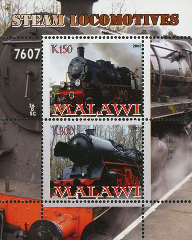 Malawi  Steam Locomotive Transportation Train Souvenir Sheet of 2 Stamps Mint NH