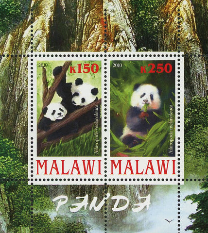 Malawi Giant Panda Bear Nature Tree Souvenir Sheet of 2 Stamps Mint NH