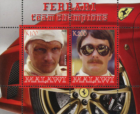 Malawi Ferrari Luxury Sport Car Team Champions Sov. Sheet of 2 Stamps Mint NH