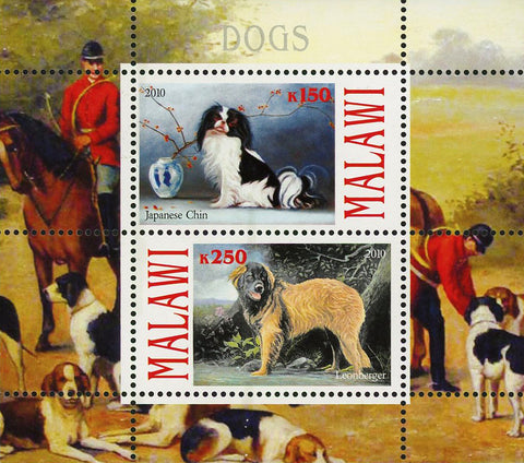 Malawi Dog Pet Domestic Animal Japanese Chin Souvenir Sheet of 2 Stamps Mint NH