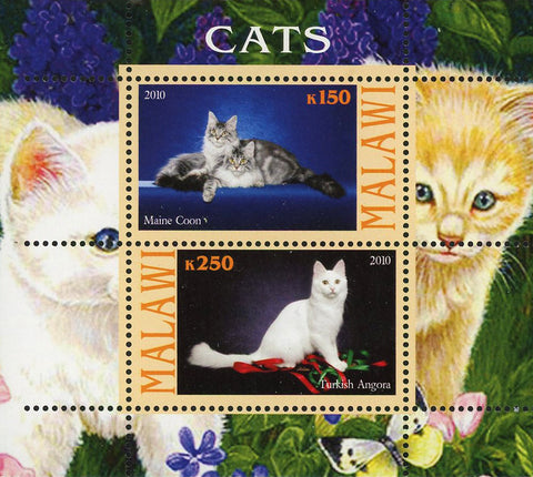 Malawi Cat Pet Domestic Animal Maine Coon Souvenir Sheet of 2 Stamps Mint NH