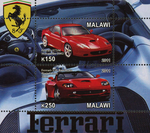 Malawi Ferrari Luxury Sport Car 575M Maranello Sov. Sheet of 2 Stamps Mint NH