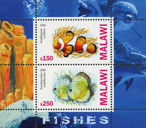 Malawi Fish Corals Marine Life Amphiprion Ocellaris Sov. Sheet of 2 Stamps Mint